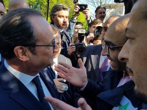 Farid Kachour, secrétaire général de l'association des musulmans de Montfermeil face au Président.