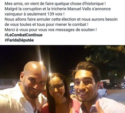 Sur la page Facebook du suppléant, après l'annonce du recours. (Farida Amrani au centre, Ulysse Rabaté à droite)