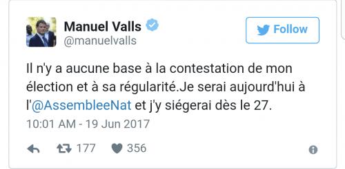 Manuel Valls dément sur Twitter les irrégularités.