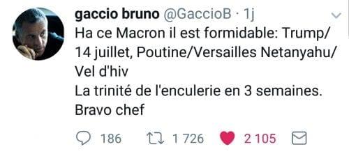 Tweet de l'humoriste Bruno Gaccio