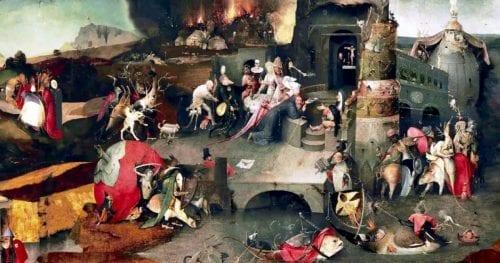 La tentation de Saint Antoine, (après 1490) de Jérôme Bosch, peintre néerlandais (1450-1516)