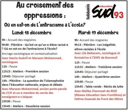 """Conférence """"Au croisement des oppressions. Où en est-in de l'antiracisme à l'école"""", Sud Syndicat 93"""
