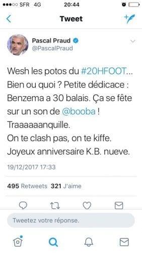Tweet du journaliste Pascal Praud à propos de l'anniversaire du footballeur, Karim Benzema, 19 décembre 2017