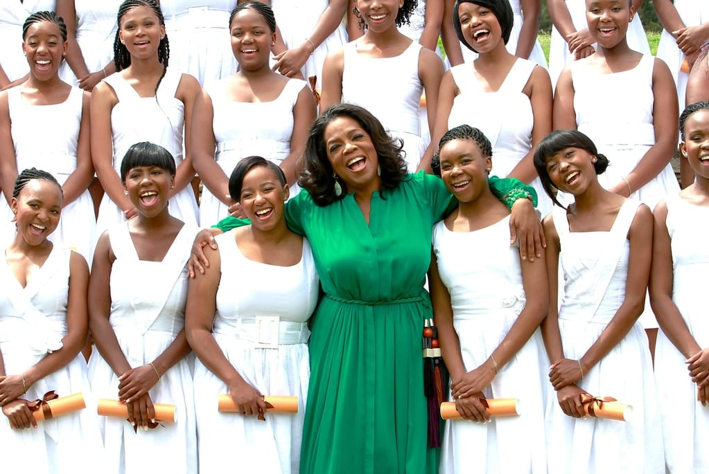 Oprah Winfrey poses at the inaugural graduation of the class of 2011 at Oprah Winfrey Leadership Academy for Girls on Jan. 14, 2012 in Henley on Klip, South Africa.