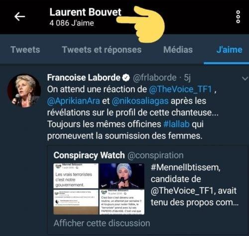 Laurent Bouvet qui relaie le tweet Françoise Laborde, ex-membre du CSA. Tous deux sont membres du Printemps républicain. Il dément, de son côté, avoir participé au cyber harcèlement de Mennel comme le montre le. media Buzzfeed.