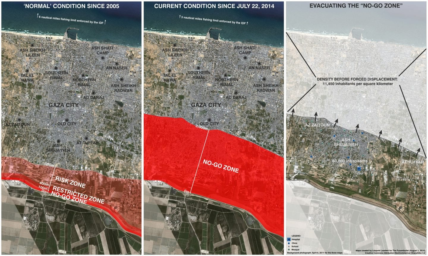 "Evolution of the ""No-Go Zone"" during the 2014 siege on Gaza / Map by Léopold Lambert (2014)."